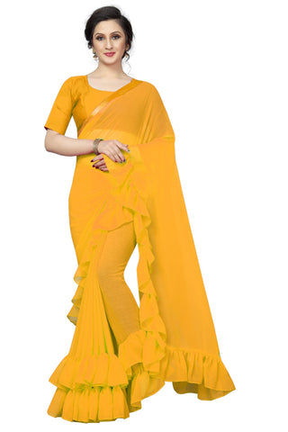 Yellow Color Georgette Women's Saree - MUTA1968