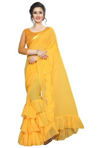 Yellow Color Georgette Women's Saree - MUTA2006
