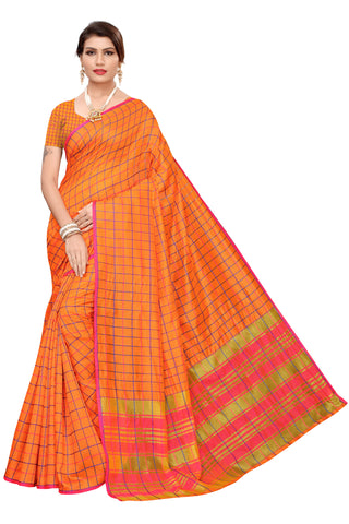 Orange Color Cotton Silk Women's Saree - MUTA2104