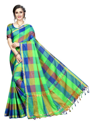 Green Color Cotton Polyester Silk Women's Saree - MUTA2106
