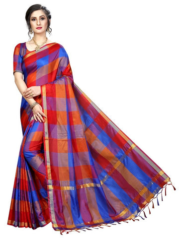 Blue Color Cotton Polyester Silk Women's Saree - MUTA2107