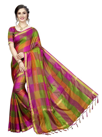 Green Color Cotton Polyester Silk Women's Saree - MUTA2108