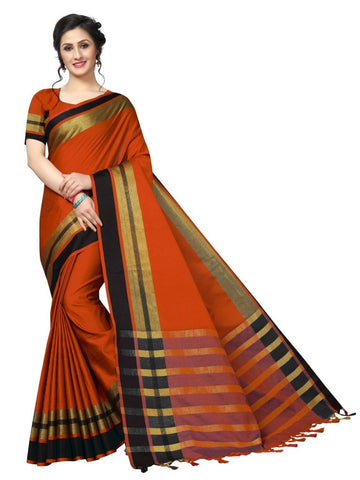 Orange Color Cotton Polyester Silk Women's Saree - MUTA2116