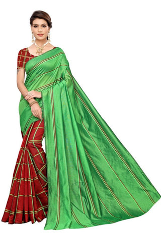 Green Color Cotton Polyester Silk Women's Saree - MUTA2120