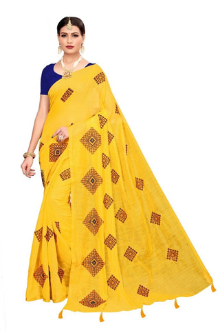 Yellow Color Chandheri Cotton Women's Saree - MUTA2163