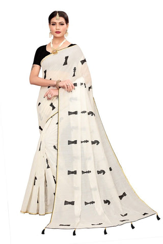 Beige Color Chandheri Cotton Women's Saree - MUTA2166