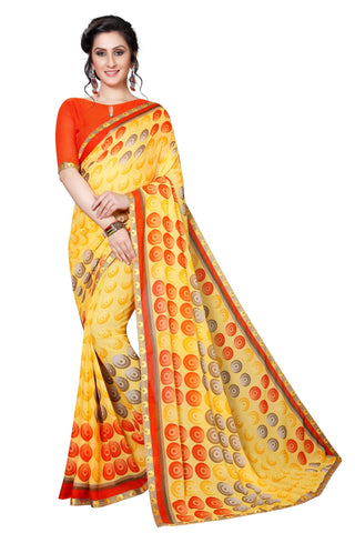 Yellow Color Georgette Women's Saree - MUTA2187