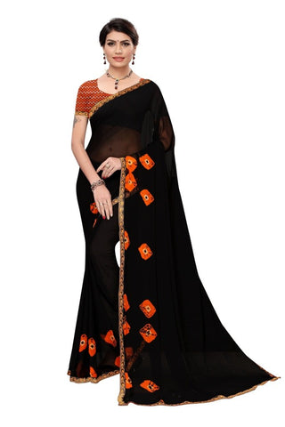 Black Color Chiffon Women's Saree - MUTA2196