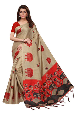 Beige Color Khadi Silk Women's Saree - MUTA2231
