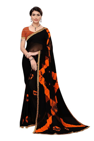 Black Color Chiffon Women's Saree - MUTA2251
