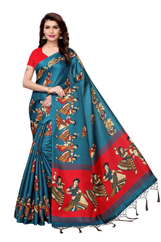 Aqua Blue Color Khadi Silk Women's Saree - MUTA2273