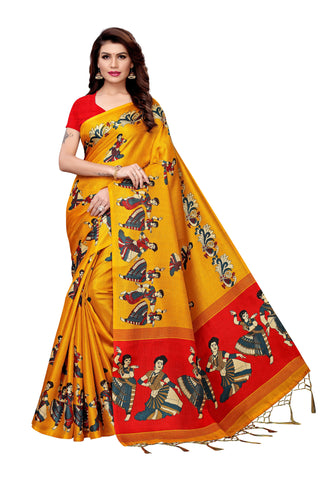 Yellow Mustard Color Khadi Silk Women's Saree - MUTA2275