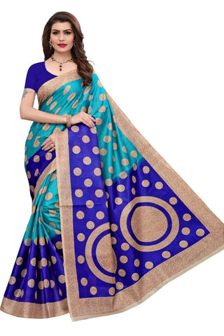 Aqua Blue Color Khadi Silk Women's Saree - MUTA2276