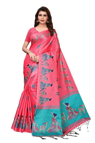 Baby Pink Color Khadi Silk Women's Saree - MUTA2284