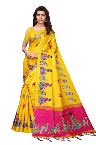Yellow Color Khadi Silk Women's Saree - MUTA2285
