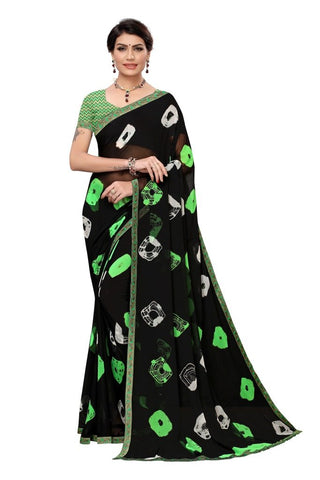 Black Color Chiffon Women's Saree - MUTA2296