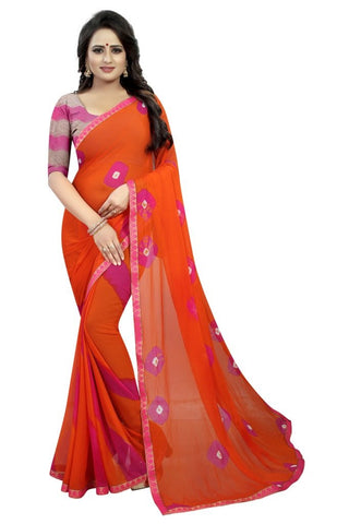 Orange Color Chiffon Women's Saree - MUTA2298