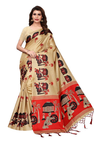 Beige Color Khadi Silk Women's Saree - MUTA2330