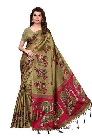 Dark Beige Color Khadi Silk Women's Saree - MUTA2332