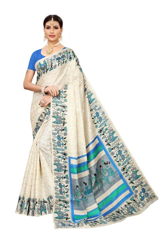 Light Brown Cream Color Khadi Silk Women's Saree - MUTA2334