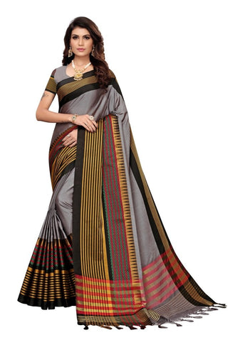 Grey Color Cotton Silk Women's Saree - MUTA2344