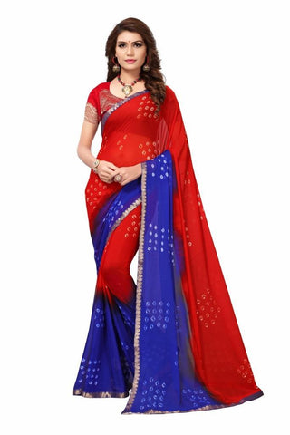 Blue Color Chiffon Women's Saree - MUTA2467
