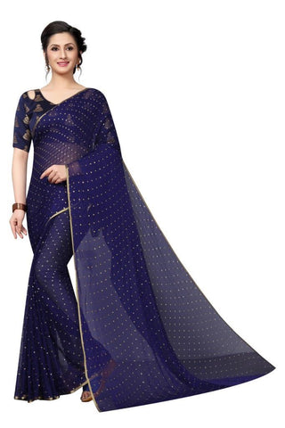 Navy Blue Color Chiffon Women's Saree - MUTA2469