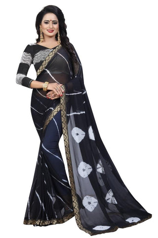 Black Color Chiffon Women's Saree - MUTA2471