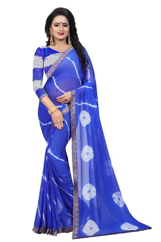 Blue Color Chiffon Women's Saree - MUTA2472