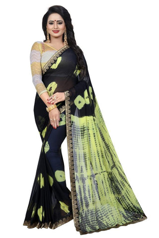 Black Color Chiffon Women's Saree - MUTA2473