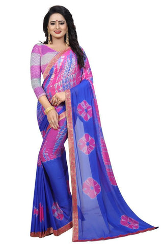 Blue Color Chiffon Women's Saree - MUTA2474