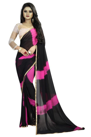 Black Color Chiffon Women's Saree - MUTA2478
