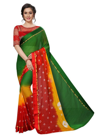 Green Color Chiffon Women's Saree - MUTA2481