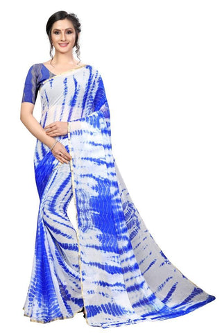 Blue Color Chiffon Women's Saree - MUTA2483