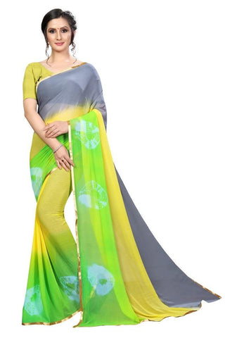 Yellow Color Chiffon Women's Saree - MUTA2485