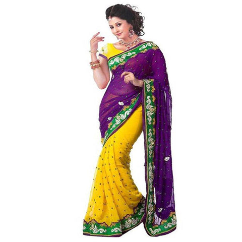 Yellow and Purple Color Chiffon Saree - MUTA253