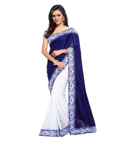 Navy Blue Color Lycra and Brasso Women's Saree - MUTA379