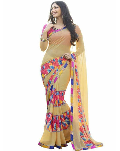 Yellow Color Georgette Women's Saree - MUTA715