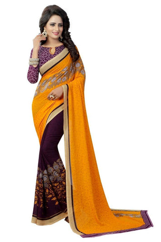 Yellow Color Georgette Women's Saree - MUTA812