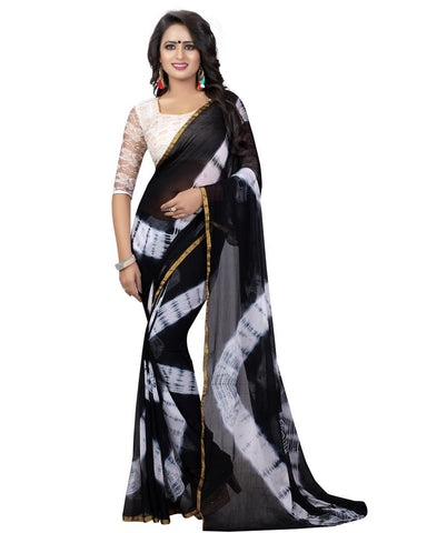 Black Color Chiffon Women's Saree - MUTA829