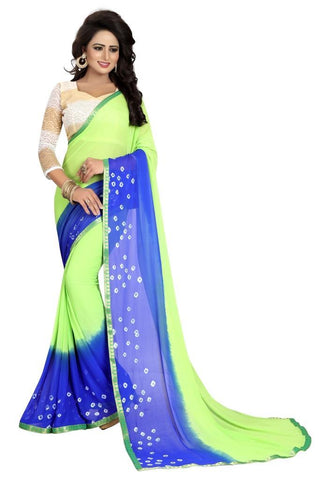 Green Color Chiffon Women's Saree - MUTA833