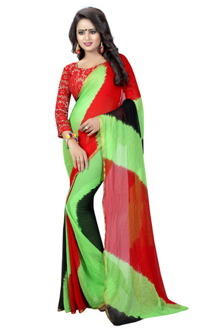 Green Color Chiffon Women's Saree - MUTA834