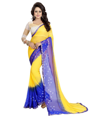 Yellow Color Chiffon Women's Saree - MUTA841