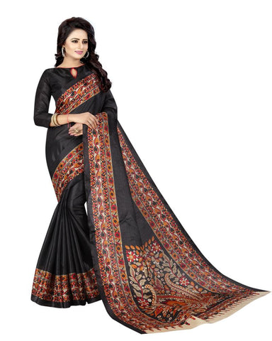 Black Color Khadi Silk Women's Saree - MUTA860
