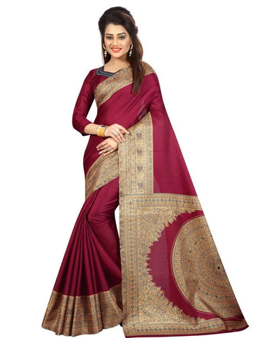 Wine Red Color  Silk Women's Saree - MUTA873