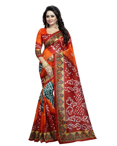 Orange Color Bhagalpuri Silk Women's Saree - MUTA919