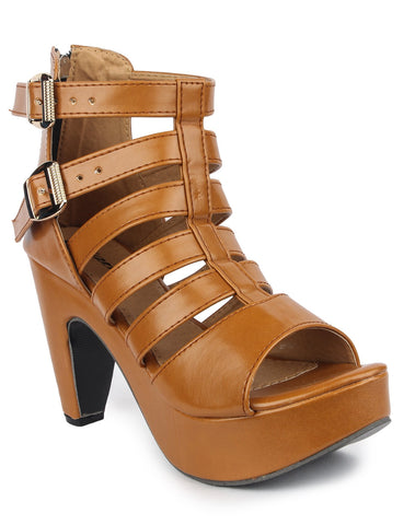 MONAQI Tan  Color Synthetic Women Heels - MWF-509-TAN