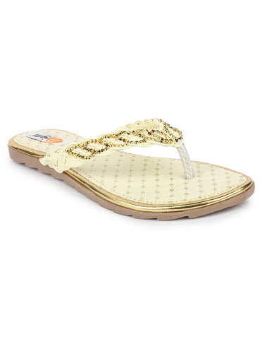 MONAQI Cream Color Synthetic Women Flats - MWF-A-3-CREAM