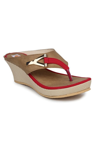 MONAQI Red Color Synthetic Women Wedges - MWF-B-2-RED
