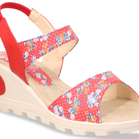 MONAQI Red Color Synthetic Women Wedges - MWF-B-20-RED